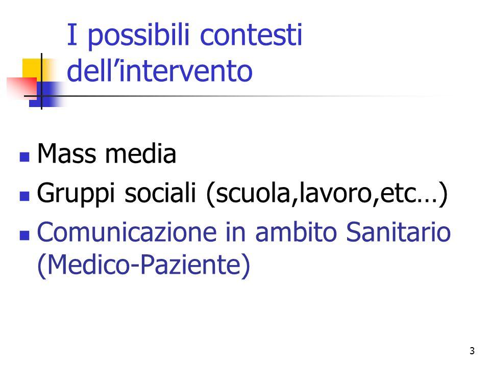 3 I possibili contesti dellintervento Mass media Gruppi sociali (scuola,lavoro,etc…) Comunicazione in ambito Sanitario (Medico-Paziente)