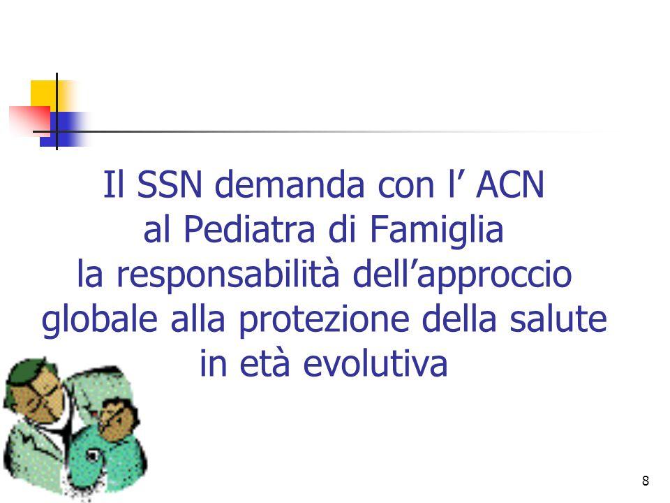 8 Il SSN demanda con l ACN al Pediatra di Famiglia la responsabilità dellapproccio globale alla protezione della salute in età evolutiva