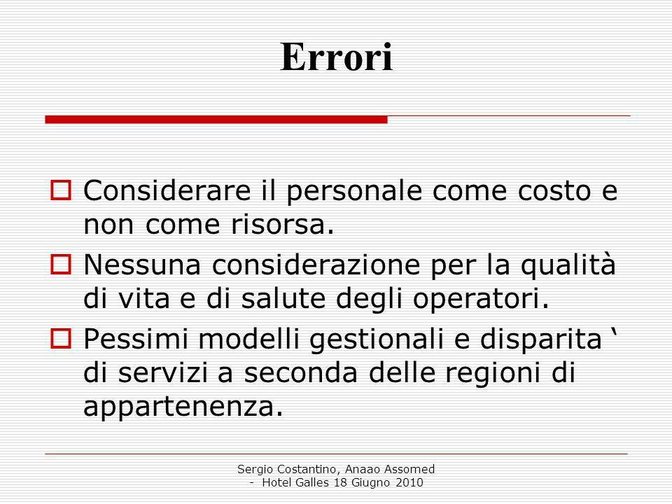 Sergio Costantino, Anaao Assomed - Hotel Galles 18 Giugno 2010 Errori Considerare il personale come costo e non come risorsa.