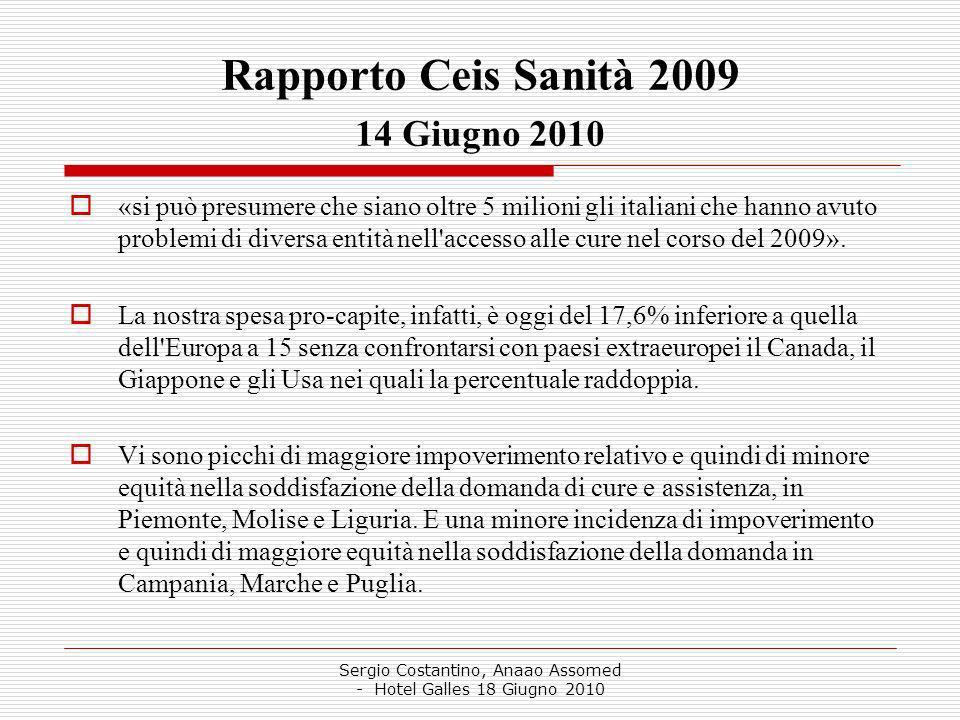 Sergio Costantino, Anaao Assomed - Hotel Galles 18 Giugno 2010 Rapporto Ceis Sanità 2009 14 Giugno 2010 «si può presumere che siano oltre 5 milioni gli italiani che hanno avuto problemi di diversa entità nell accesso alle cure nel corso del 2009».
