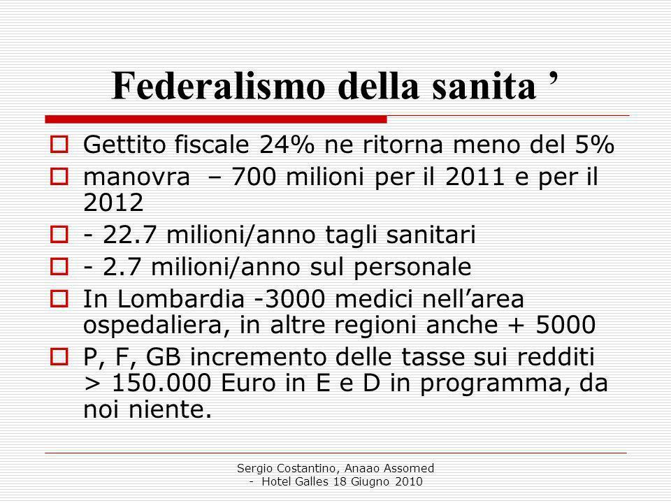 Sergio Costantino, Anaao Assomed - Hotel Galles 18 Giugno 2010 Federalismo della sanita Gettito fiscale 24% ne ritorna meno del 5% manovra – 700 milioni per il 2011 e per il 2012 - 22.7 milioni/anno tagli sanitari - 2.7 milioni/anno sul personale In Lombardia -3000 medici nellarea ospedaliera, in altre regioni anche + 5000 P, F, GB incremento delle tasse sui redditi > 150.000 Euro in E e D in programma, da noi niente.
