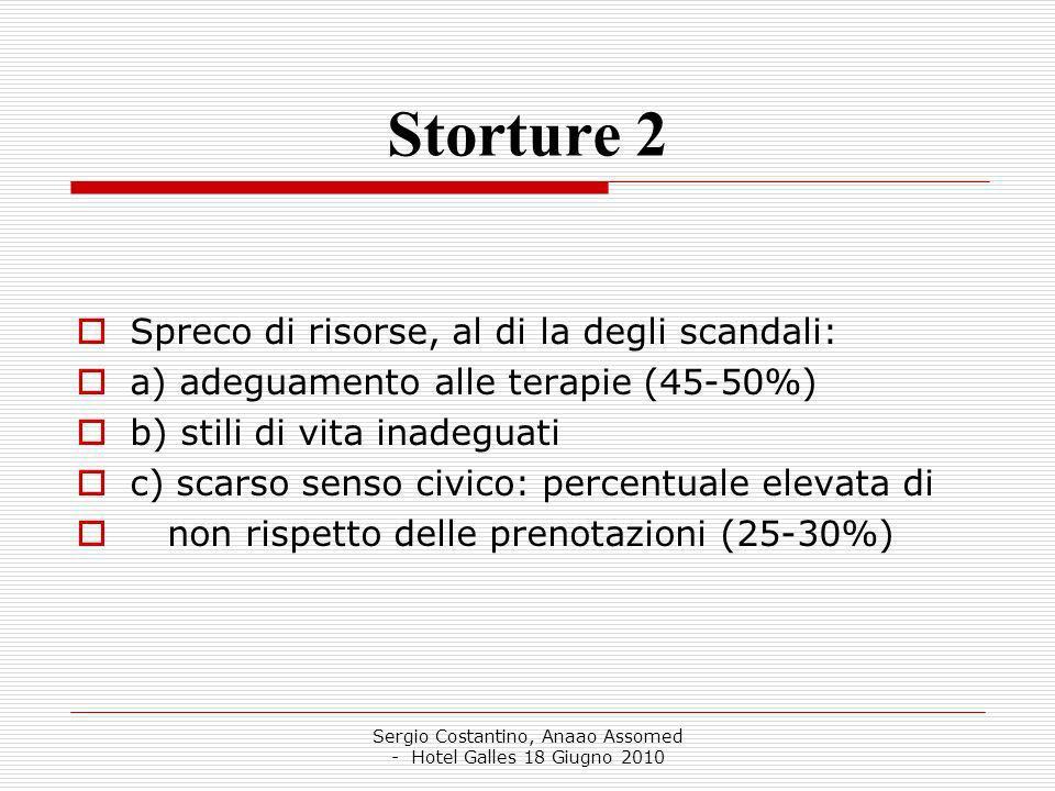 Sergio Costantino, Anaao Assomed - Hotel Galles 18 Giugno 2010 Storture 2 Spreco di risorse, al di la degli scandali: a) adeguamento alle terapie (45-50%) b) stili di vita inadeguati c) scarso senso civico: percentuale elevata di non rispetto delle prenotazioni (25-30%)