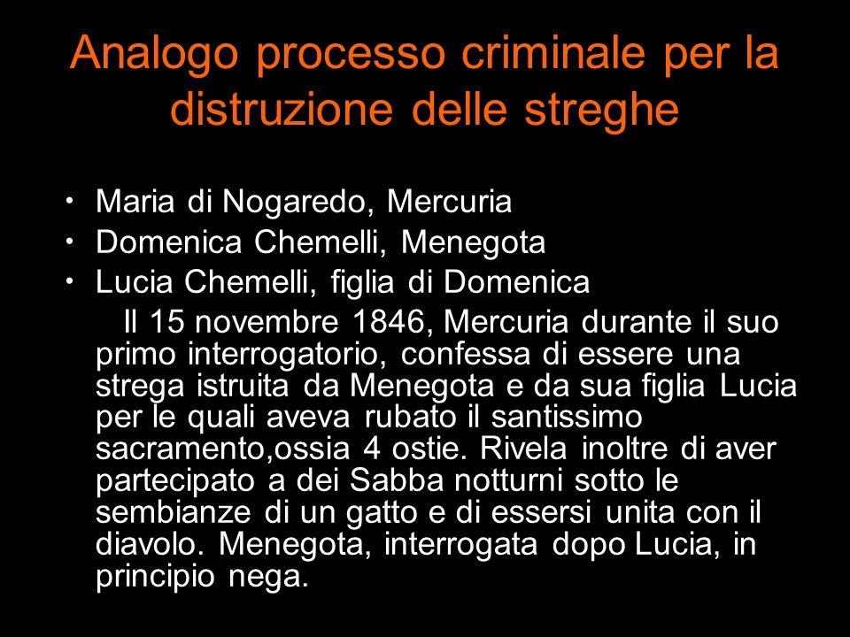 Analogo processo criminale per la distruzione delle streghe Maria di Nogaredo, Mercuria Domenica Chemelli, Menegota Lucia Chemelli, figlia di Domenica
