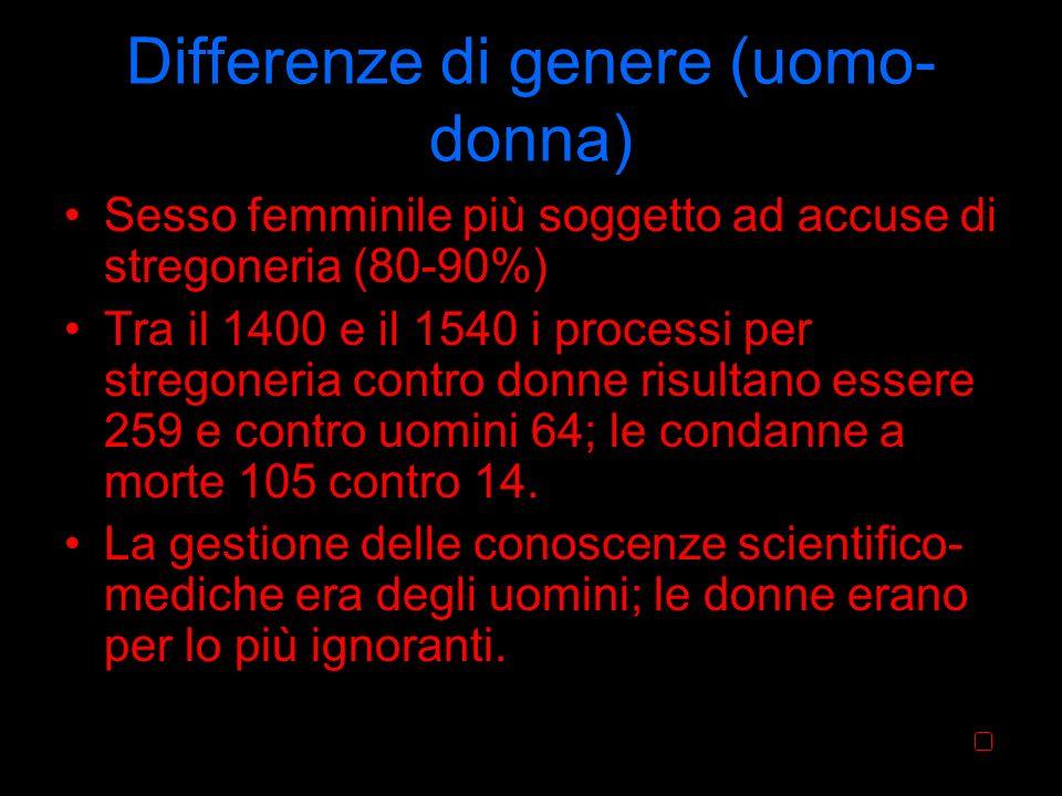 Differenze di genere (uomo- donna) Sesso femminile più soggetto ad accuse di stregoneria (80-90%) Tra il 1400 e il 1540 i processi per stregoneria con