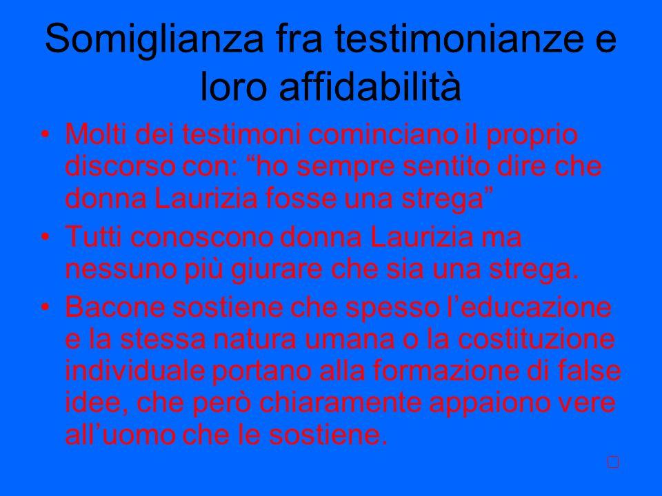 Somiglianza fra testimonianze e loro affidabilità Molti dei testimoni cominciano il proprio discorso con: ho sempre sentito dire che donna Laurizia fo