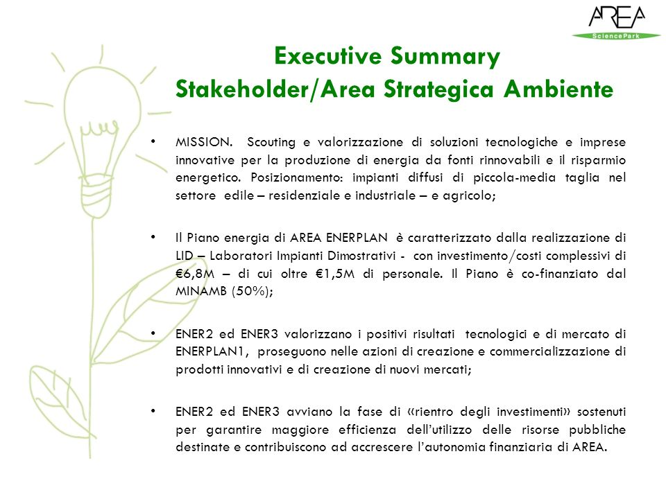Executive Summary Stakeholder/Area Strategica Ambiente MISSION.