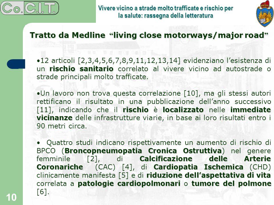 10 Vivere vicino a strade molto trafficate e rischio per la salute: rassegna della letteratura Tratto da Medline living close motorways/major road Tra