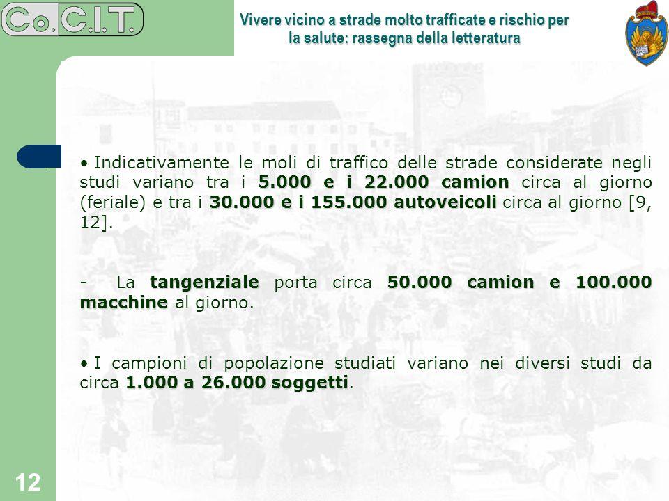 12 Vivere vicino a strade molto trafficate e rischio per la salute: rassegna della letteratura 5.000 e i 22.000 camion 30.000 e i 155.000 autoveicoli
