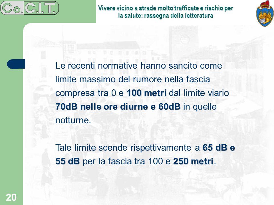 20 Vivere vicino a strade molto trafficate e rischio per la salute: rassegna della letteratura 100 metri 70dB nelle ore diurne e 60dB Le recenti norma