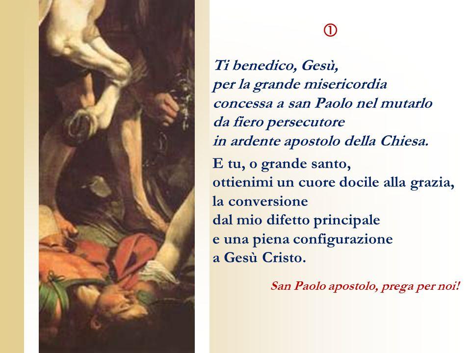 Ti benedico, Gesù, per la grande misericordia concessa a san Paolo nel mutarlo da fiero persecutore in ardente apostolo della Chiesa. E tu, o grande s