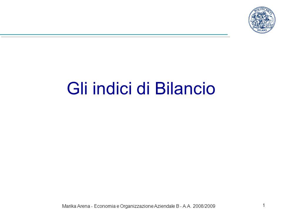 Marika Arena - Economia e Organizzazione Aziendale B - A.A. 2008/2009 1 Gli indici di Bilancio
