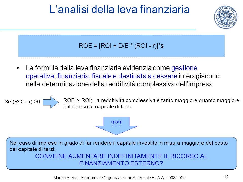 Marika Arena - Economia e Organizzazione Aziendale B - A.A. 2008/2009 12 Lanalisi della leva finanziaria La formula della leva finanziaria evidenzia c