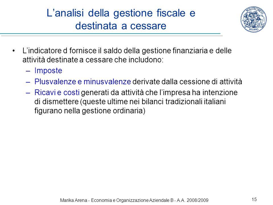 Marika Arena - Economia e Organizzazione Aziendale B - A.A. 2008/2009 15 Lanalisi della gestione fiscale e destinata a cessare Lindicatore d fornisce