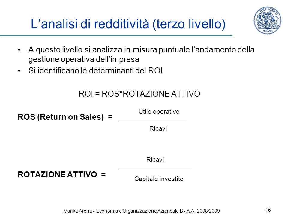Marika Arena - Economia e Organizzazione Aziendale B - A.A. 2008/2009 16 Lanalisi di redditività (terzo livello) A questo livello si analizza in misur