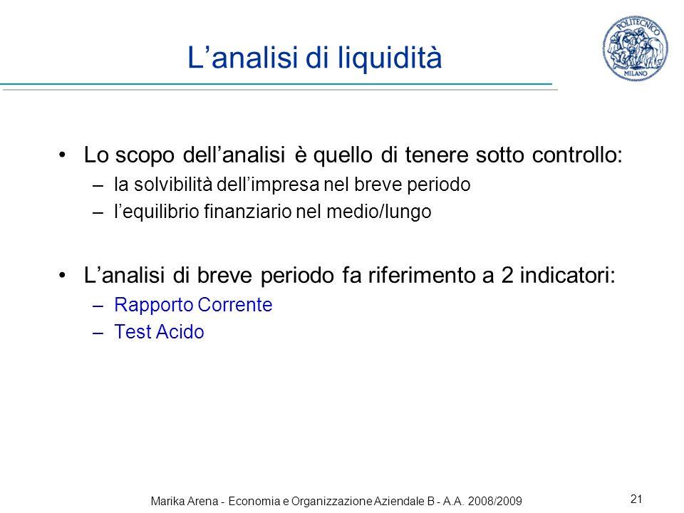 Marika Arena - Economia e Organizzazione Aziendale B - A.A. 2008/2009 21 Lanalisi di liquidità Lo scopo dellanalisi è quello di tenere sotto controllo