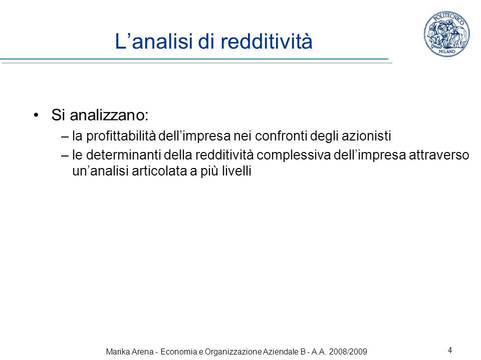 Marika Arena - Economia e Organizzazione Aziendale B - A.A. 2008/2009 4 Lanalisi di redditività Si analizzano: –la profittabilità dellimpresa nei conf