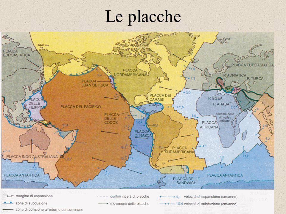 Le placche La presenza di dorsali oceaniche, fosse di subduzione e faglie trasformi delineano unimmensa rete su tutta la litosfera dividendola in plac