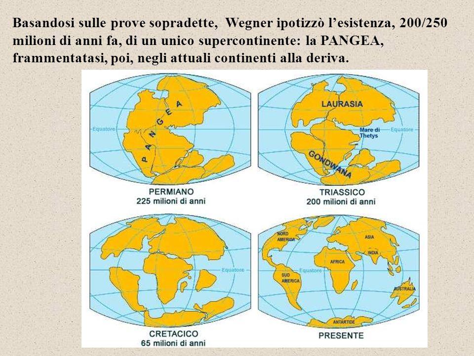 Basandosi sulle prove sopradette, Wegner ipotizzò lesistenza, 200/250 milioni di anni fa, di un unico supercontinente: la PANGEA, frammentatasi, poi, negli attuali continenti alla deriva.