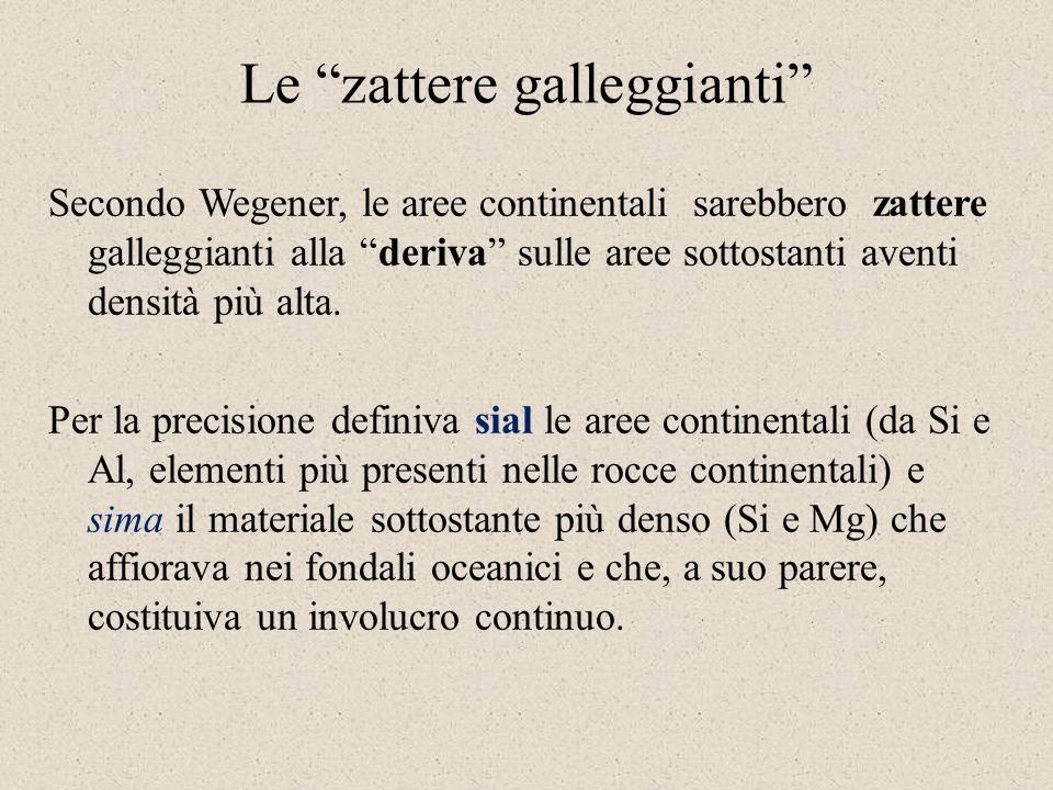 Le zattere galleggianti Secondo Wegener, le aree continentali sarebbero zattere galleggianti alla deriva sulle aree sottostanti aventi densità più alta.