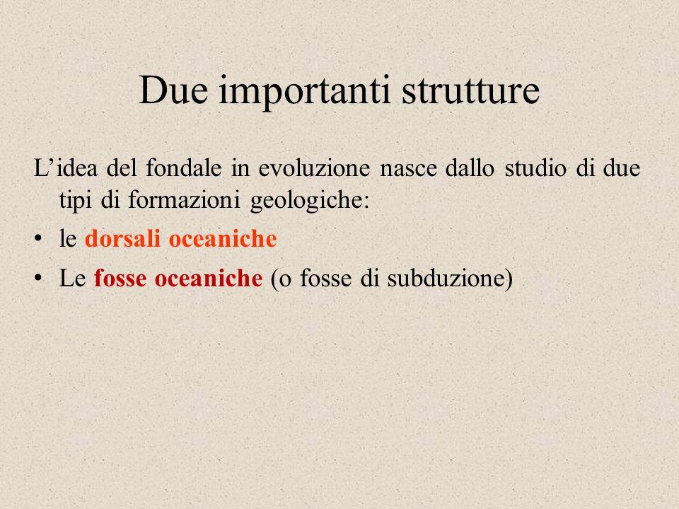 Due importanti strutture Lidea del fondale in evoluzione nasce dallo studio di due tipi di formazioni geologiche: le dorsali oceaniche Le fosse oceaniche (o fosse di subduzione)