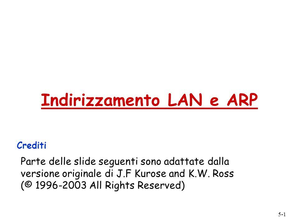5-1 Indirizzamento LAN e ARP Crediti Parte delle slide seguenti sono adattate dalla versione originale di J.F Kurose and K.W. Ross (© 1996-2003 All Ri