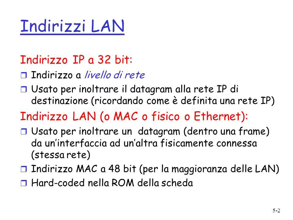 5-2 Indirizzi LAN Indirizzo IP a 32 bit: r Indirizzo a livello di rete r Usato per inoltrare il datagram alla rete IP di destinazione (ricordando come