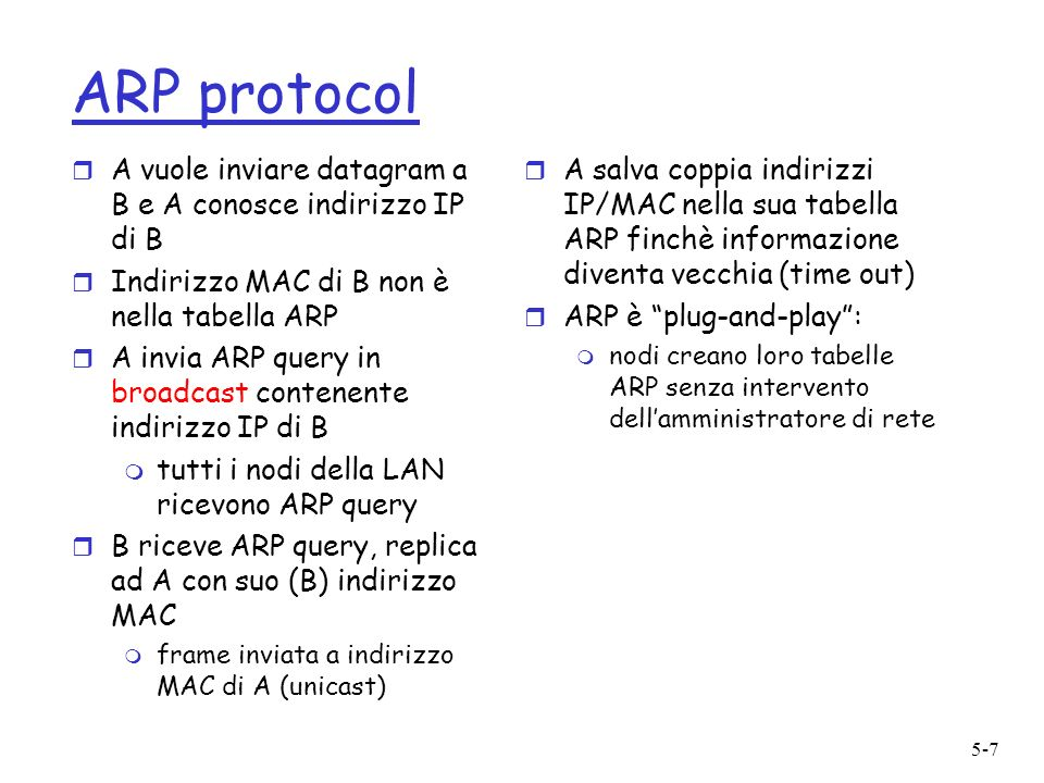 5-7 ARP protocol r A vuole inviare datagram a B e A conosce indirizzo IP di B r Indirizzo MAC di B non è nella tabella ARP r A invia ARP query in broa