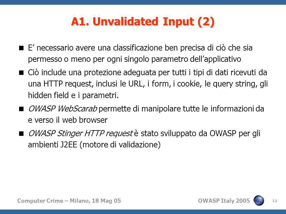 Computer Crime – Milano, 18 Mag 05 OWASP Italy 2005 12 A1. Unvalidated Input (2) E necessario avere una classificazione ben precisa di ciò che sia per