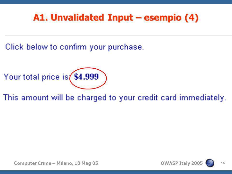 Computer Crime – Milano, 18 Mag 05 OWASP Italy 2005 16 A1. Unvalidated Input – esempio (4)