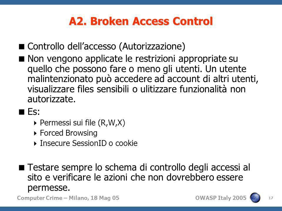 Computer Crime – Milano, 18 Mag 05 OWASP Italy 2005 17 A2. Broken Access Control Controllo dellaccesso (Autorizzazione) Non vengono applicate le restr