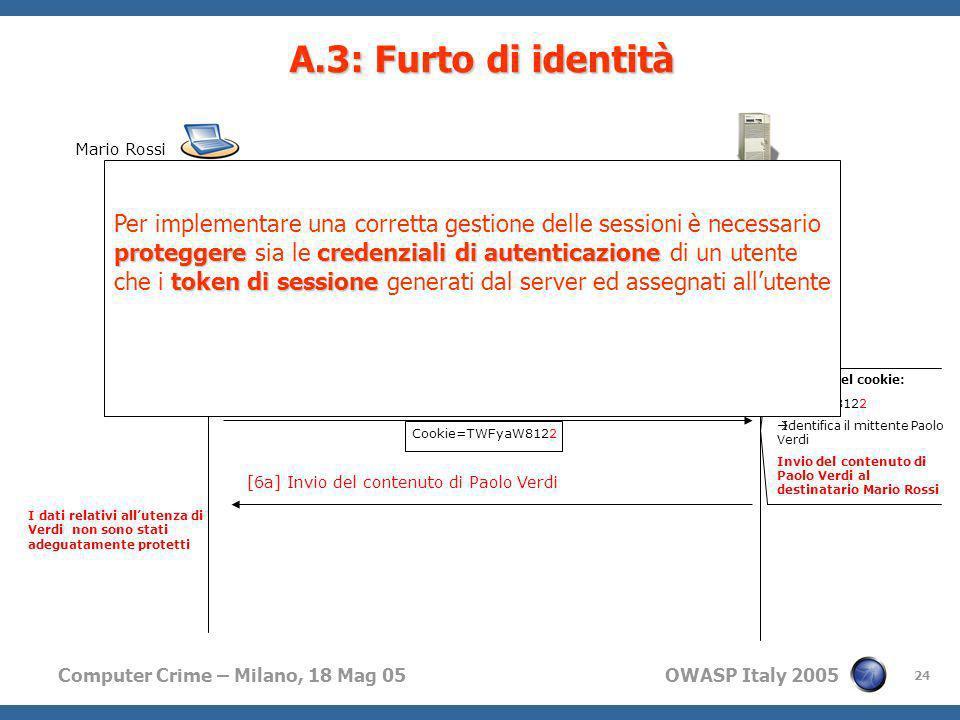 Computer Crime – Milano, 18 Mag 05 OWASP Italy 2005 24 Se altero la GET HTTP, forgiando il cookie sono in grado di accedere al contenuto di unaltra pe