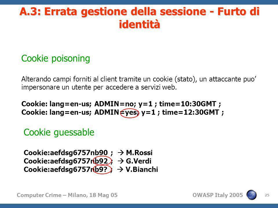 Computer Crime – Milano, 18 Mag 05 OWASP Italy 2005 25 A.3: Errata gestione della sessione - Furto di identità Cookie poisoning Alterando campi fornit