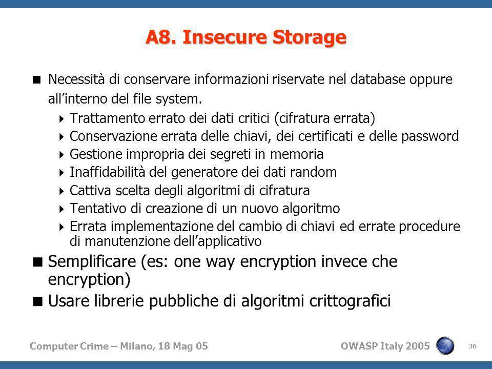 Computer Crime – Milano, 18 Mag 05 OWASP Italy 2005 36 Necessità di conservare informazioni riservate nel database oppure allinterno del file system.