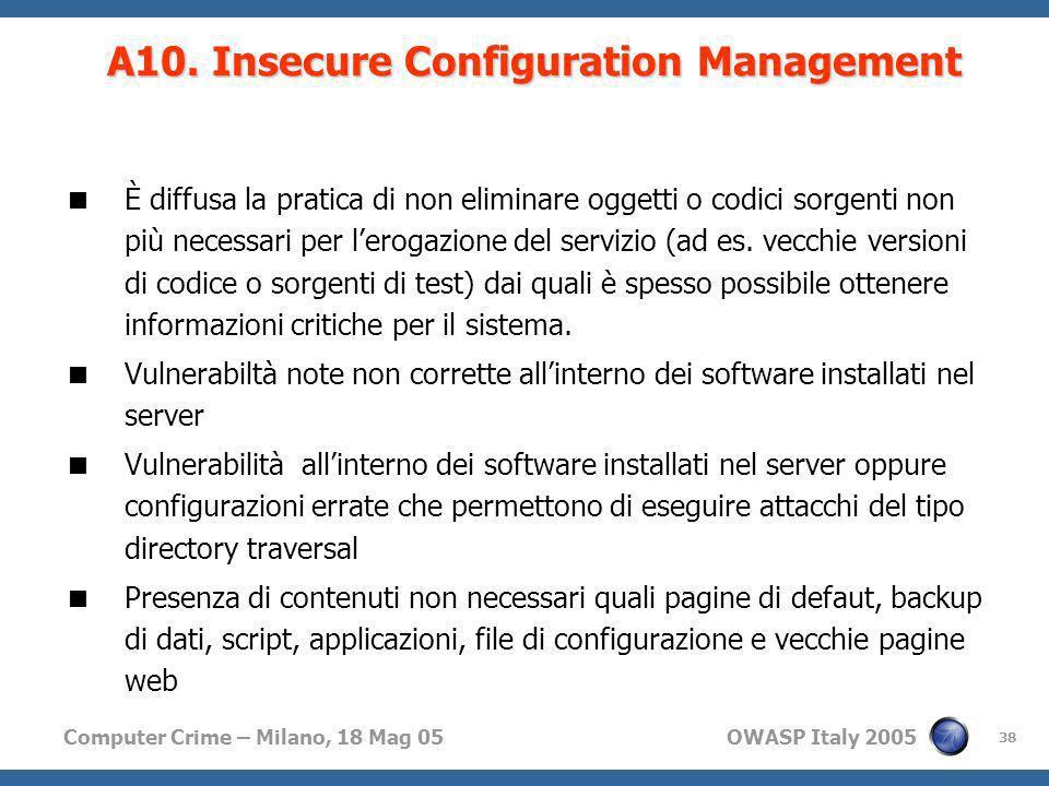 Computer Crime – Milano, 18 Mag 05 OWASP Italy 2005 38 È diffusa la pratica di non eliminare oggetti o codici sorgenti non più necessari per lerogazio
