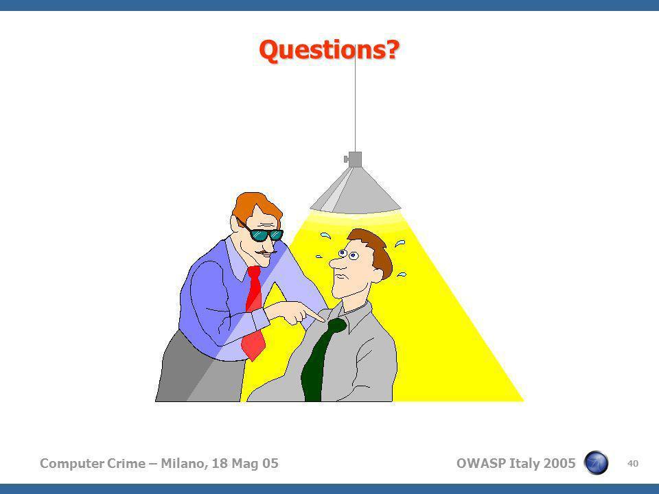 Computer Crime – Milano, 18 Mag 05 OWASP Italy 2005 40 Questions?