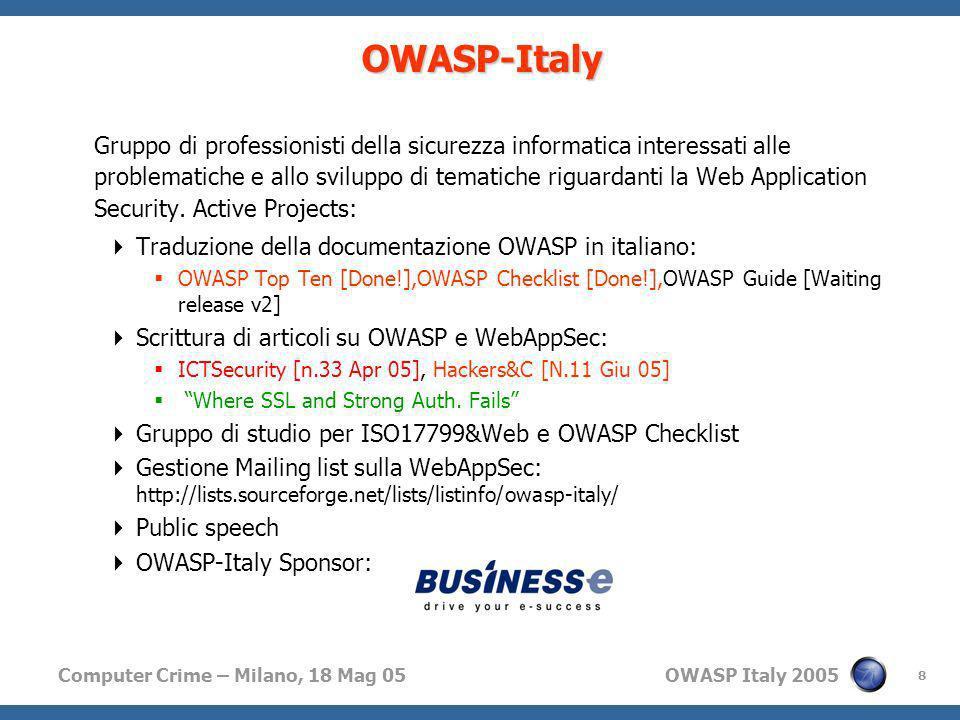 Computer Crime – Milano, 18 Mag 05 OWASP Italy 2005 8 OWASP-Italy Gruppo di professionisti della sicurezza informatica interessati alle problematiche