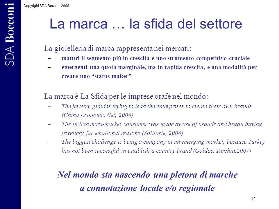 Copyright SDA Bocconi 2008 10 –La gioielleria di marca rappresenta nei mercati: –maturi il segmento più in crescita e uno strumento competitivo crucia