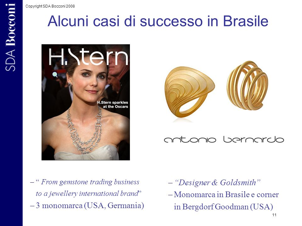 Copyright SDA Bocconi 2008 11 – From gemstone trading business to a jewellery international brand –3 monomarca (USA, Germania) Alcuni casi di successo