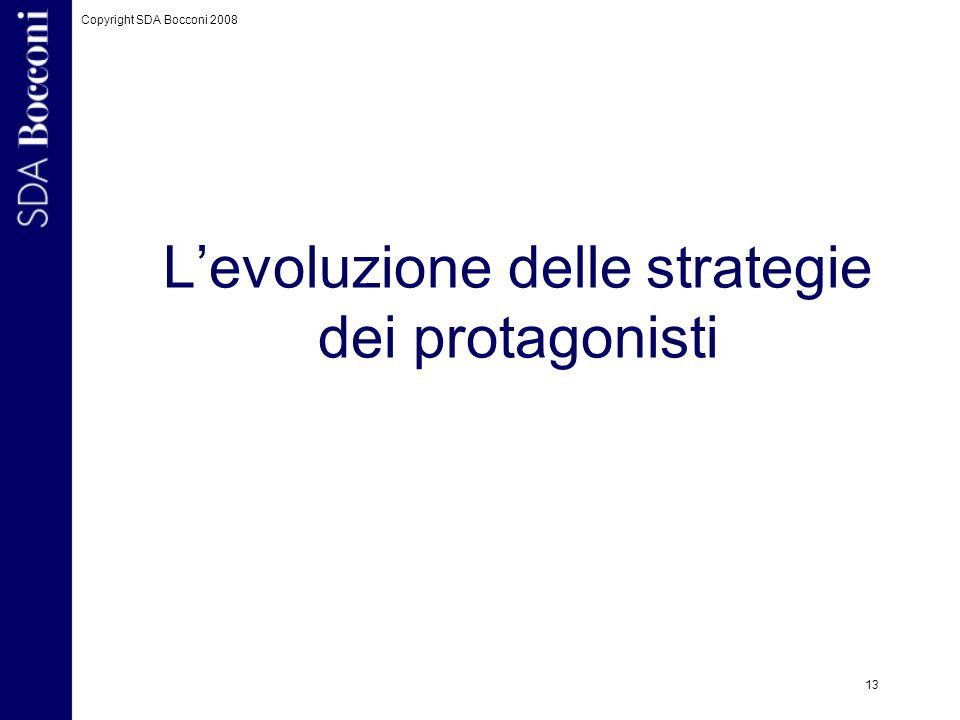 Copyright SDA Bocconi 2008 13 Levoluzione delle strategie dei protagonisti