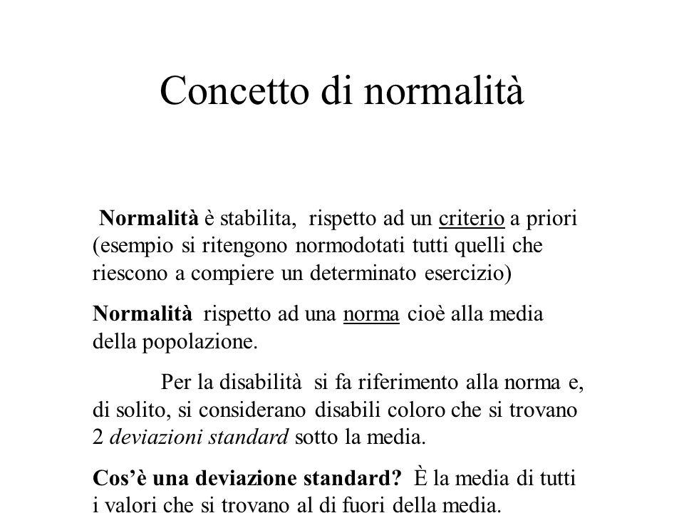 Concetto di normalità Normalità è stabilita, rispetto ad un criterio a priori (esempio si ritengono normodotati tutti quelli che riescono a compiere un determinato esercizio) Normalità rispetto ad una norma cioè alla media della popolazione.