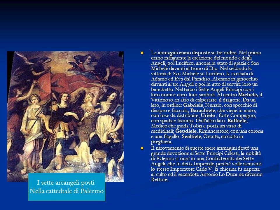 Le immagini erano disposte su tre ordini. Nel primo erano raffigurate la creazione del mondo e degli Angeli, poi Lucifero, ancora in stato di grazia e