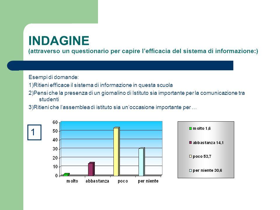 INDAGINE (attraverso un questionario per capire lefficacia del sistema di informazione:) Esempi di domande: 1)Ritieni efficace il sistema di informazi