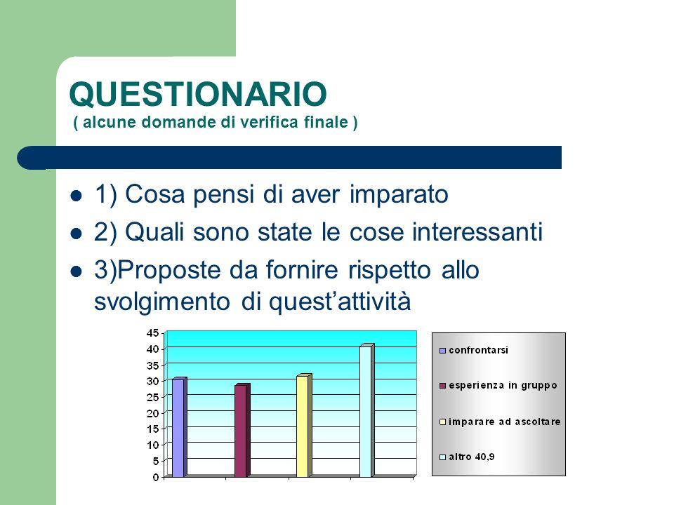 QUESTIONARIO ( alcune domande di verifica finale ) 1) Cosa pensi di aver imparato 2) Quali sono state le cose interessanti 3)Proposte da fornire rispetto allo svolgimento di questattività