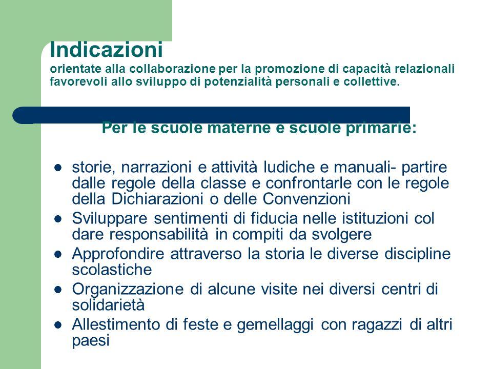 Indicazioni orientate alla collaborazione per la promozione di capacità relazionali favorevoli allo sviluppo di potenzialità personali e collettive. P