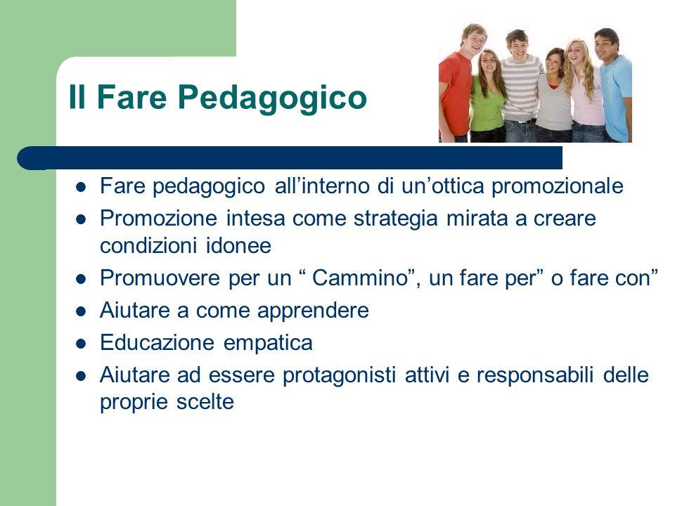 Il Fare Pedagogico Fare pedagogico allinterno di unottica promozionale Promozione intesa come strategia mirata a creare condizioni idonee Promuovere p