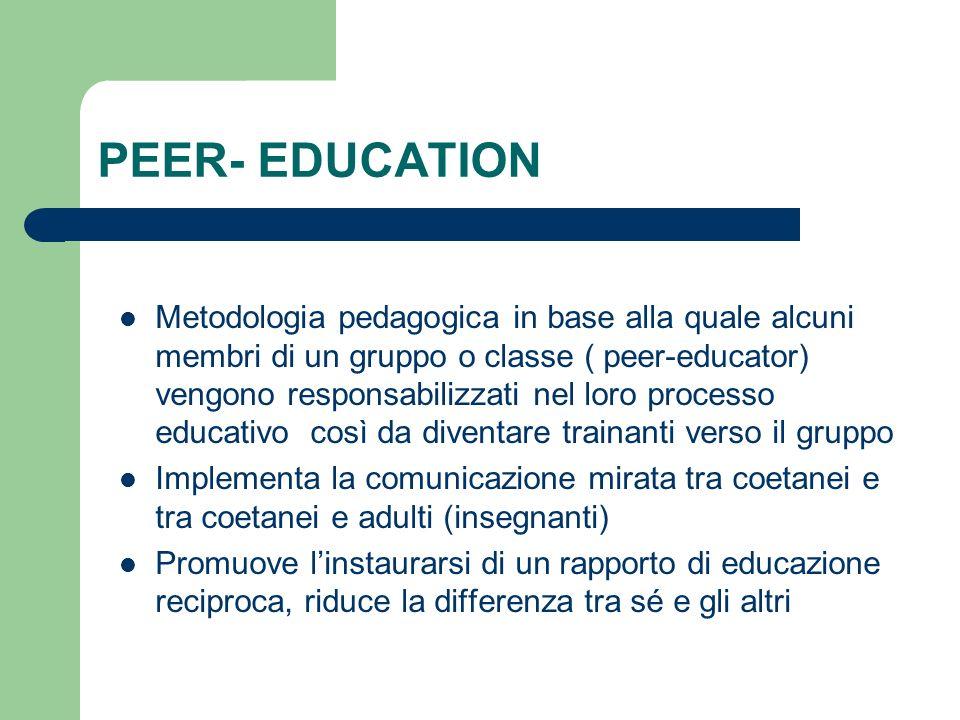 PEER- EDUCATION Metodologia pedagogica in base alla quale alcuni membri di un gruppo o classe ( peer-educator) vengono responsabilizzati nel loro proc
