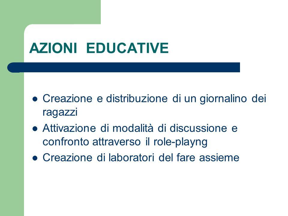 AZIONI EDUCATIVE Creazione e distribuzione di un giornalino dei ragazzi Attivazione di modalità di discussione e confronto attraverso il role-playng C