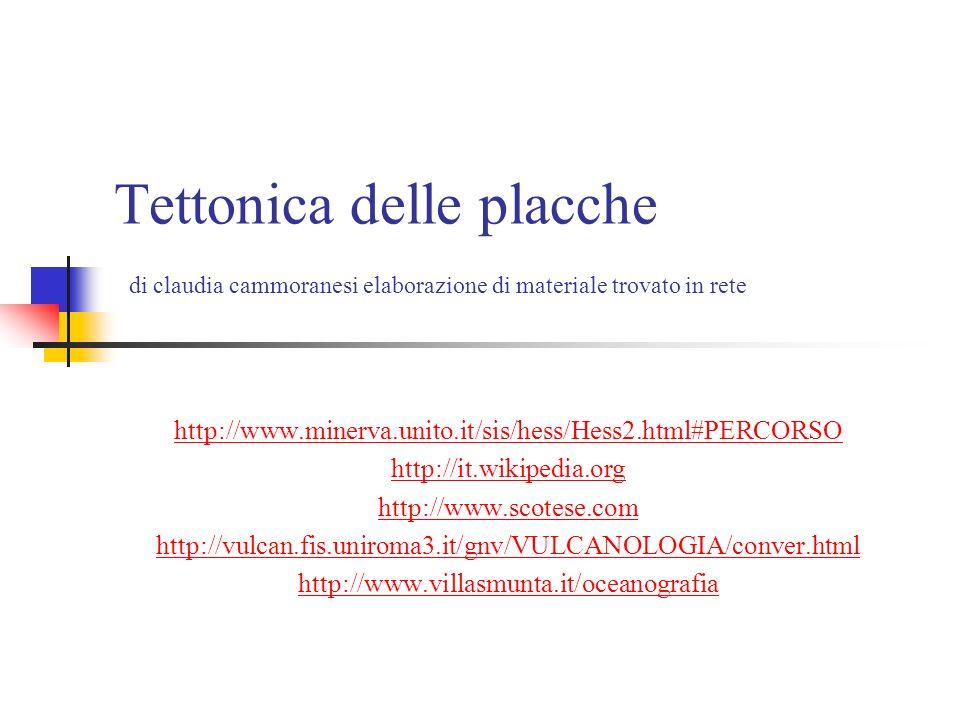 Tettonica delle placche di claudia cammoranesi elaborazione di materiale trovato in rete http://www.minerva.unito.it/sis/hess/Hess2.html#PERCORSO http://it.wikipedia.org http://www.scotese.com http://vulcan.fis.uniroma3.it/gnv/VULCANOLOGIA/conver.html http://www.villasmunta.it/oceanografia