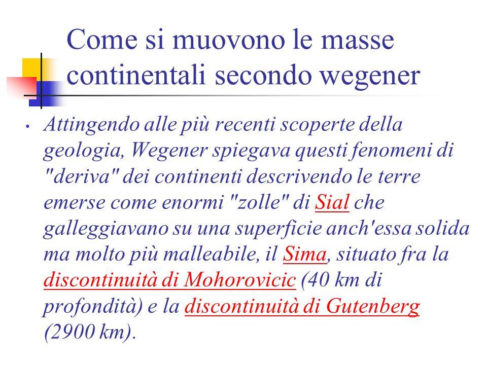 Come si muovono le masse continentali secondo wegener Attingendo alle più recenti scoperte della geologia, Wegener spiegava questi fenomeni di deriva dei continenti descrivendo le terre emerse come enormi zolle di Sial che galleggiavano su una superficie anch essa solida ma molto più malleabile, il Sima, situato fra la discontinuità di Mohorovicic (40 km di profondità) e la discontinuità di Gutenberg (2900 km).SialSima discontinuità di Mohorovicicdiscontinuità di Gutenberg