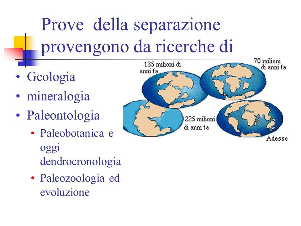 Prove della separazione provengono da ricerche di Geologia mineralogia Paleontologia Paleobotanica e oggi dendrocronologia Paleozoologia ed evoluzione